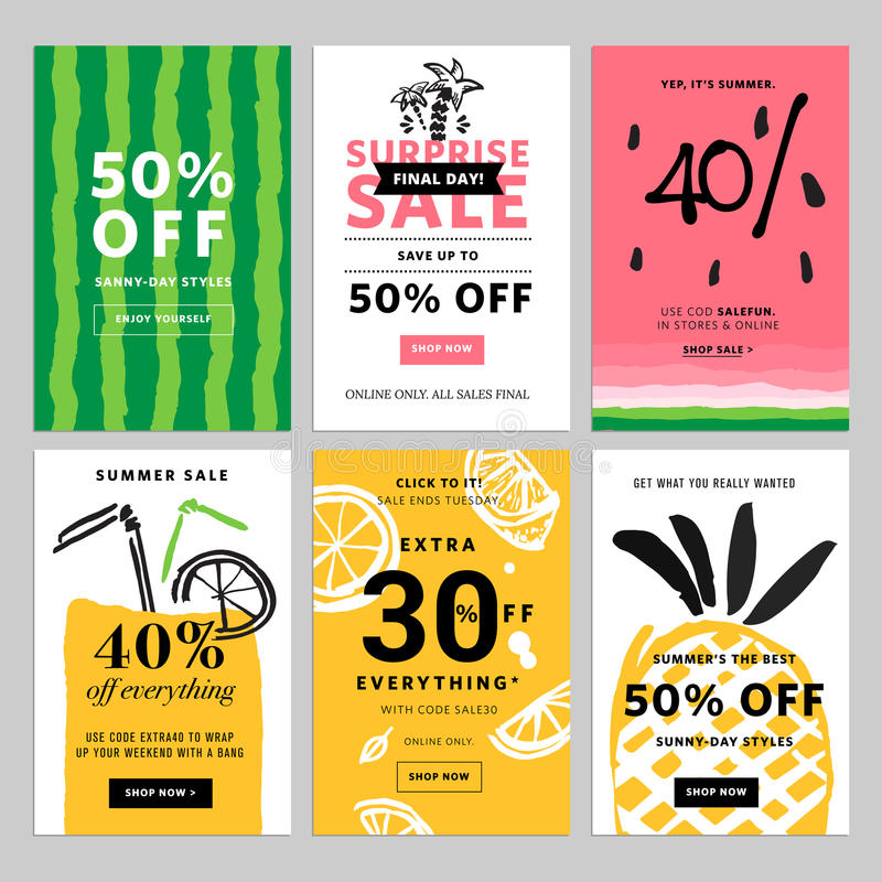 Hand drawn design promotional banner templates. Vector illustrations for website and mobile website banners, posters, email and newsletter designs, ads vector illustration
