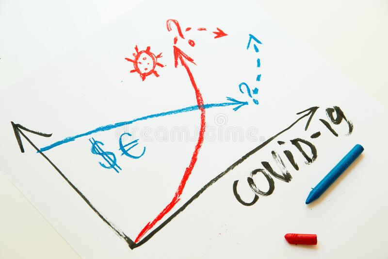 Diagram for economic crisis and covid-19 stock image