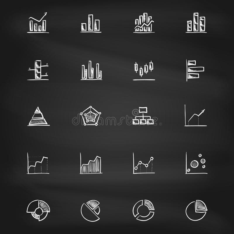 Hand drawn diagram icons on blackboard royalty free stock photography