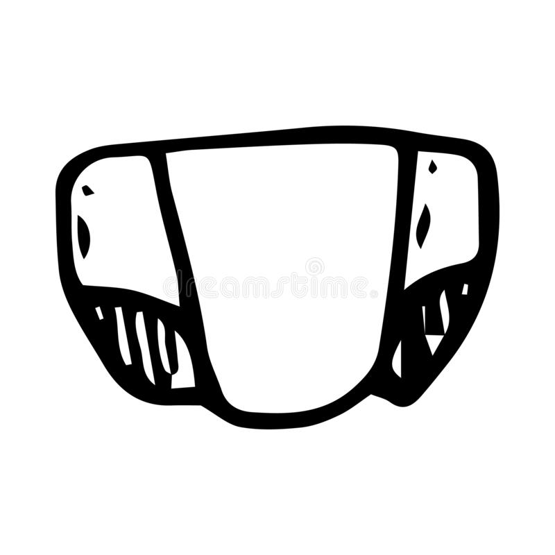 Hand drawn diaper doodle. Sketch children's toy icon. Decoration element. Isolated on black background. Vector illustration. Baby, newborn, nappy, infant stock illustration