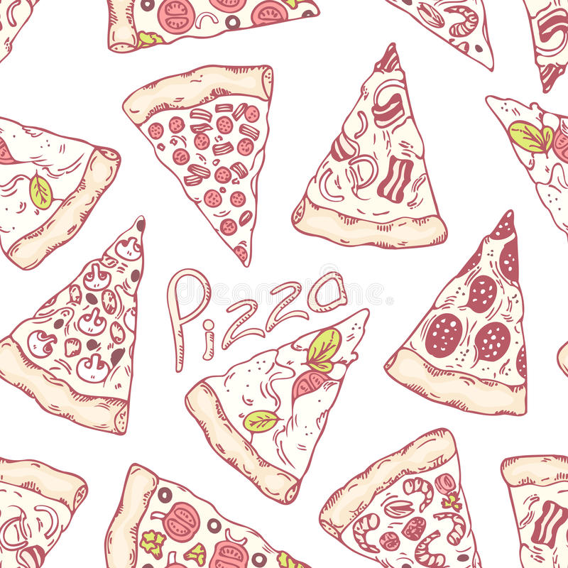 Hand drawn different pizza slices seamless pattern. Pizzeria background. Vector illustration stock illustration