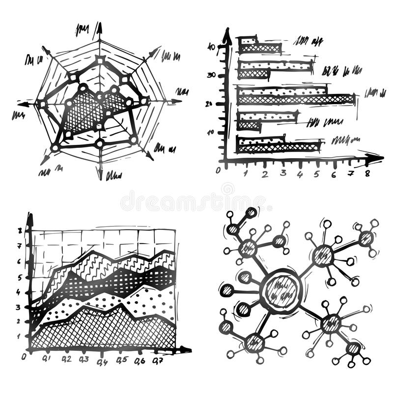 Hand drawn different types of infographics. Charts and diagrams drawn in doodle style. Qualitative vector (EPS-10) illustration about infographics, analytics stock illustration