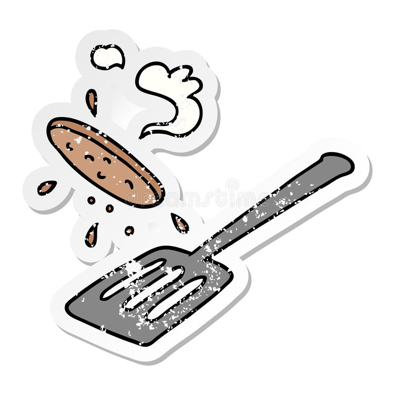Hand drawn distressed sticker cartoon doodle of a burger being flipped. Illustrated hand drawn distressed sticker cartoon doodle of a burger being flipped royalty free illustration