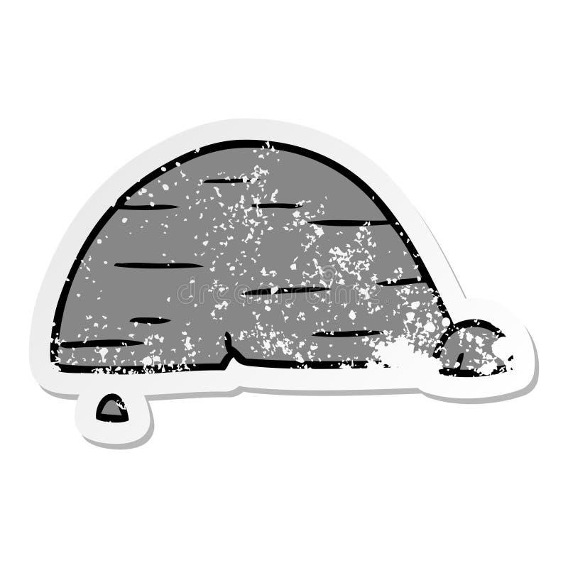 hand drawn distressed sticker cartoon doodle of grey stone boulder stock illustration