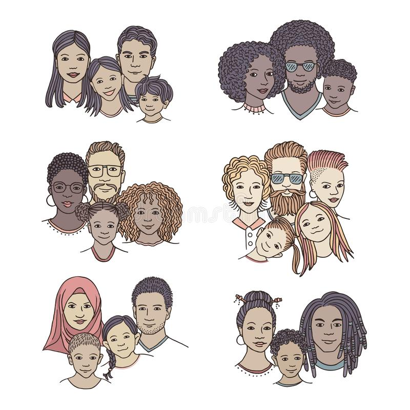 Hand drawn diverse family portraits royalty free illustration