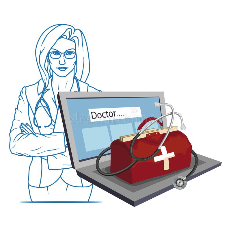 Hand Drawn Doctor. Cartoon paramedic character. Doctor with stethoscope. Health Care patch. Online Doctor concept. Vector artwork vector illustration