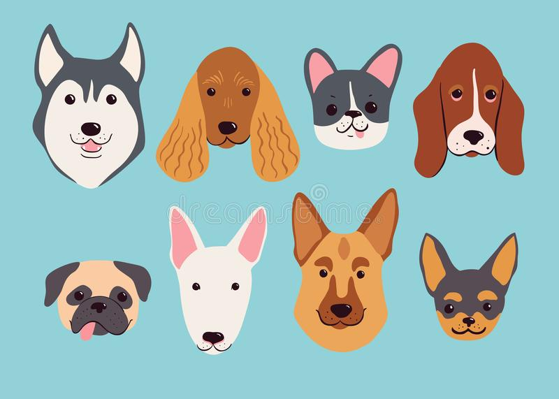 Hand drawn dog breeds set. Funny vector illustration. royalty free illustration