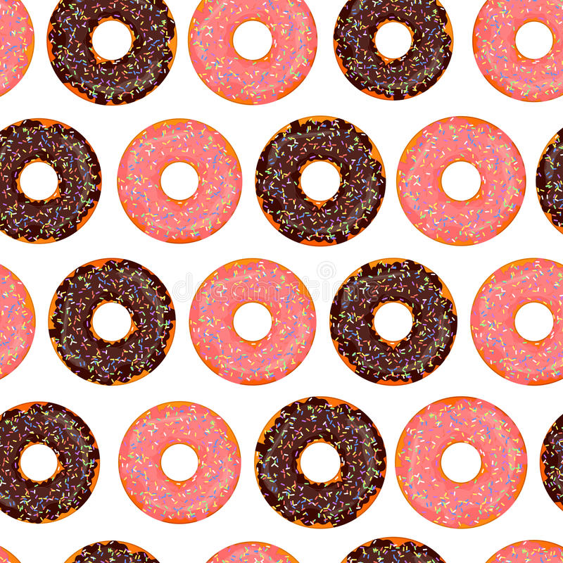 Hand drawn donut seamless pattern. Pastry illustration. Vector bakery background design. Sweets theme.  stock illustration