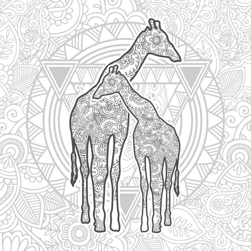 hand drawn doodle animal paisley adult stress release coloring page zentangle giraffe