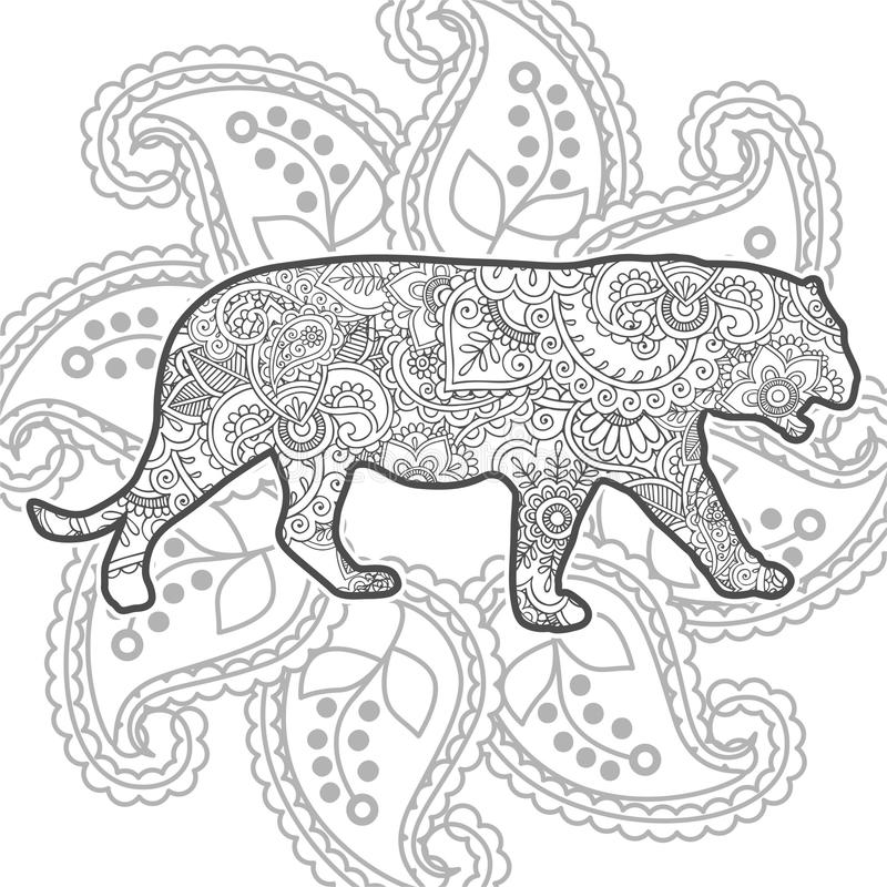 Download Tiger Hand Drawn Doodle Animal Paisley Adult Stress Release Coloring Page Zentangle Stock Illustration
