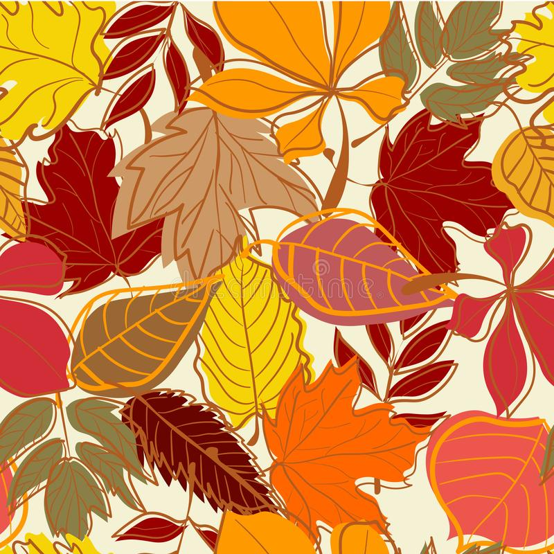 Hand drawn Autumn leaves seamless background royalty free illustration