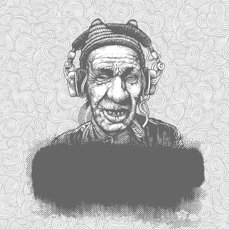 Hand-drawn doodle background with elderly man with royalty free illustration