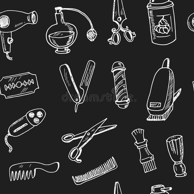 Hand drawn doodle barbershop seamless pattern vector illustration