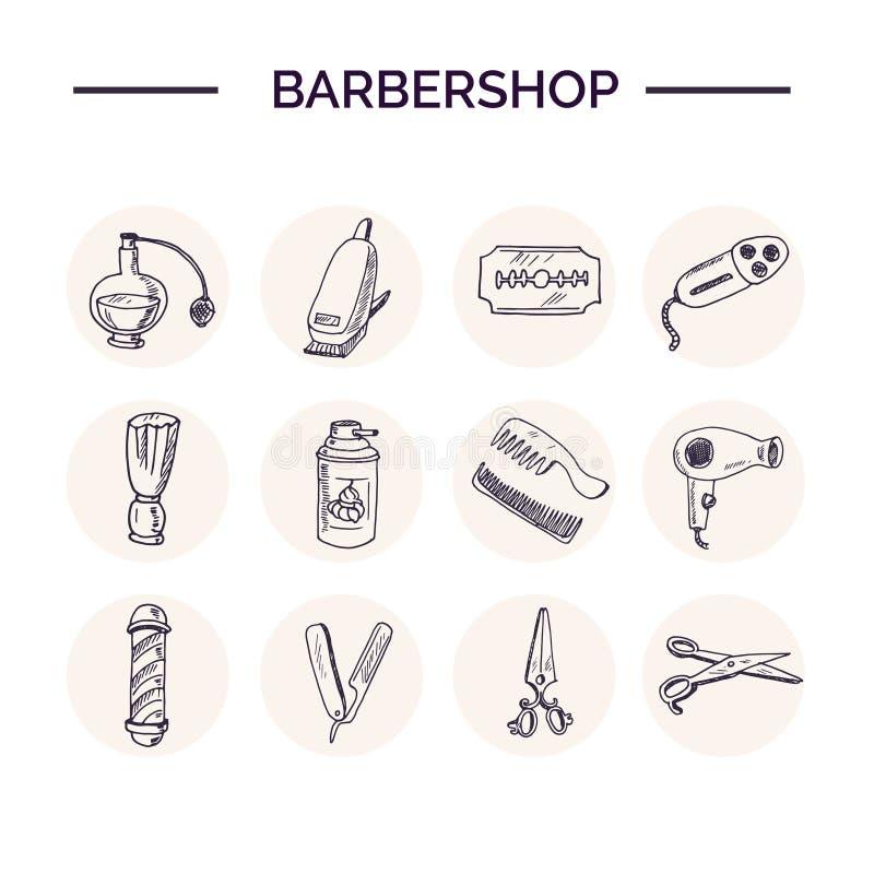 Hand drawn doodle barbershop set. royalty free illustration
