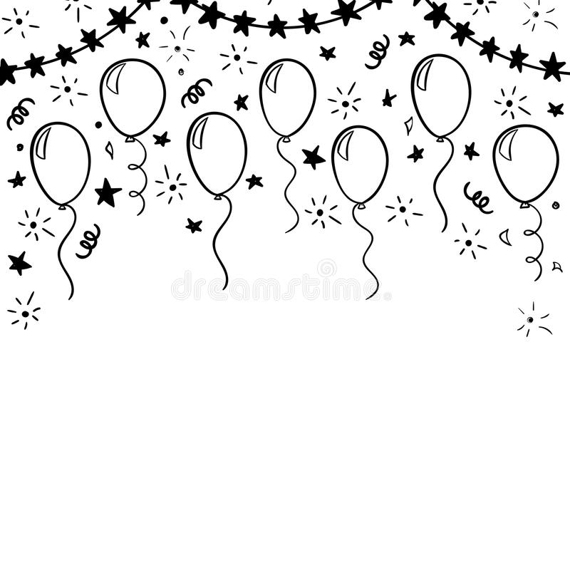 Free Hand Drawn Doodle Black And White Balloon. Design Holiday Greeting Card And Invitation Of Wedding, Happy Mother Day, Birthday, Val Stock Photos - 115139453