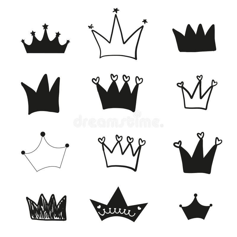 Hand drawn doodle black crown vector illustration set royalty free illustration