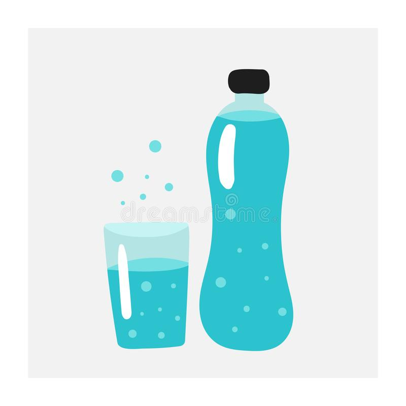 Hand drawn doodle bottle with glass of water. Card, poster, flyer, page, cover with water stock illustration