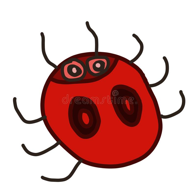 Hand drawn doodle cartoon character fantasy red ladybug insect symbol isolated on white. Hand drawn doodle cartoon character fantasy  insect bug symbol royalty free illustration