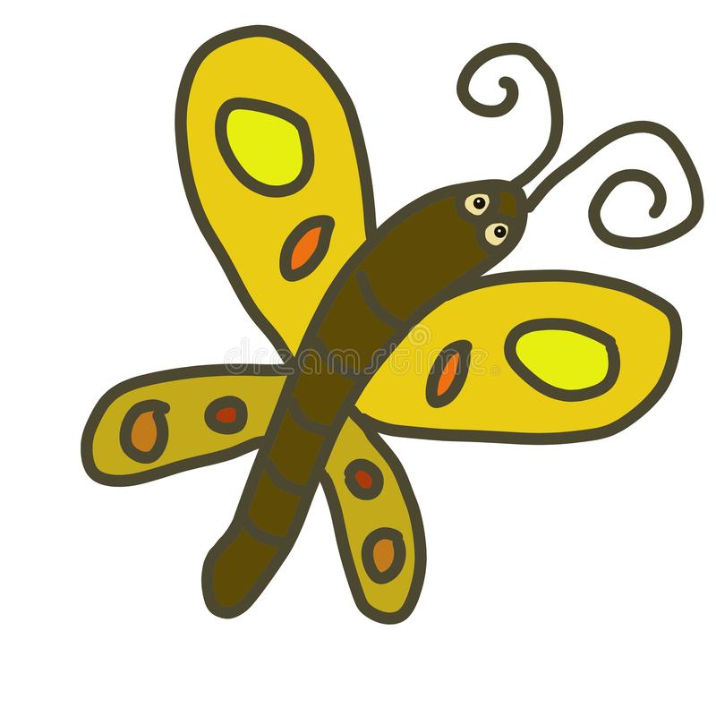 Hand drawn doodle cartoon character yellow butterfly insect symbol isolated on white. Hand drawn doodle cartoon character fantasy red ladybug insect symbol vector illustration