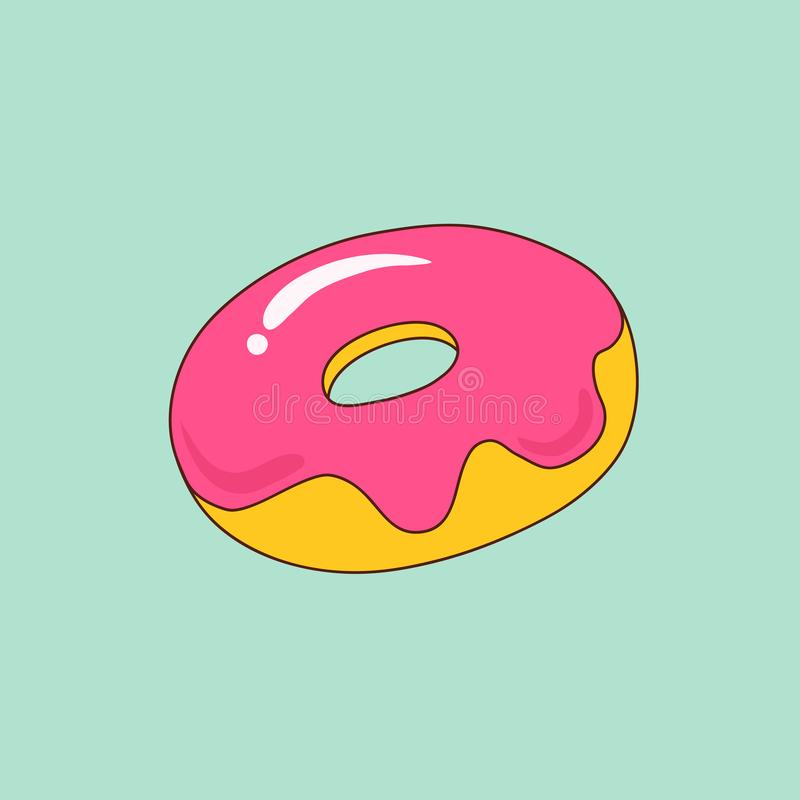 Hand drawn doodle cartoon style baked glazed doughnut with pink icing on light turquoise background. Kids room decoration poster royalty free illustration