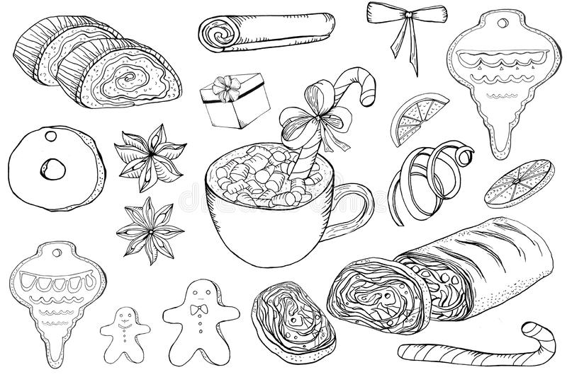 Hand drawn doodle christmas isolated objects on white background vector illustration