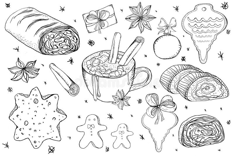 Hand drawn doodle christmas objects for design royalty free illustration