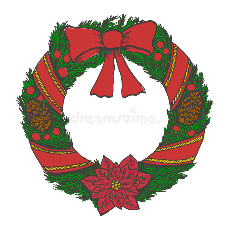 Hand Drawn Doodle Christmas Wreath. Color Objects Drawing. Design ...
