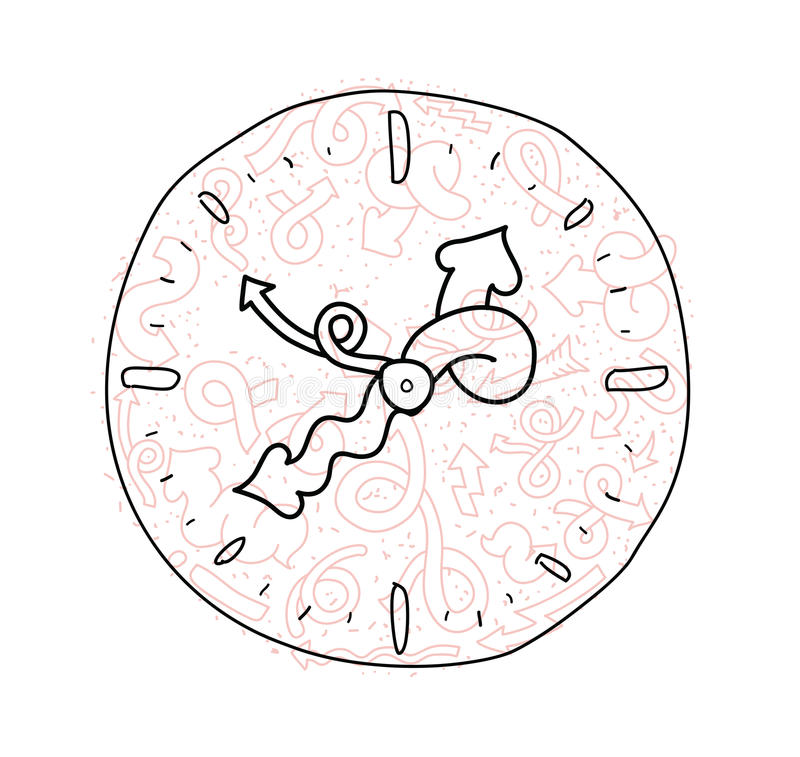 Hand drawn doodle clock icon design. Hand drawn doodle clock design with funny arrows stock illustration