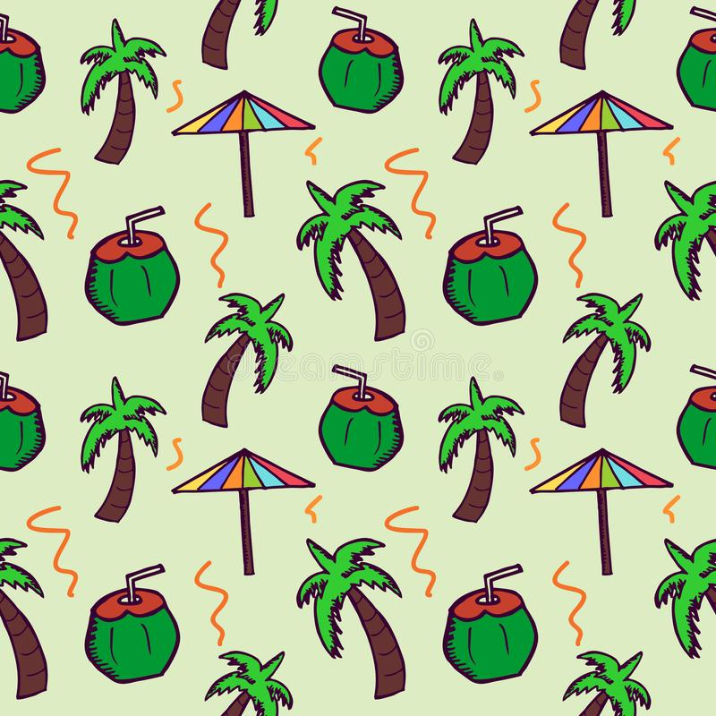 Hand drawn doodle coconut, umbrella, and tree seamless pattern. Summer background wrapping and textile print. stock illustration