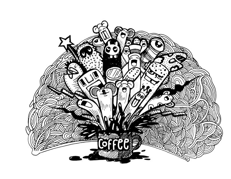 Line Drawing Monster : Hand drawn doodle coffee background illustrator line