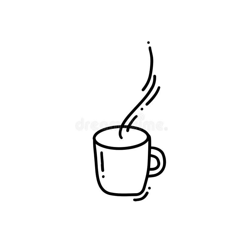 Hand drawn doodle coffee cup. Sketched hot tea drink. Teacup symbol. Monoline vector illustration isolated on white vector illustration