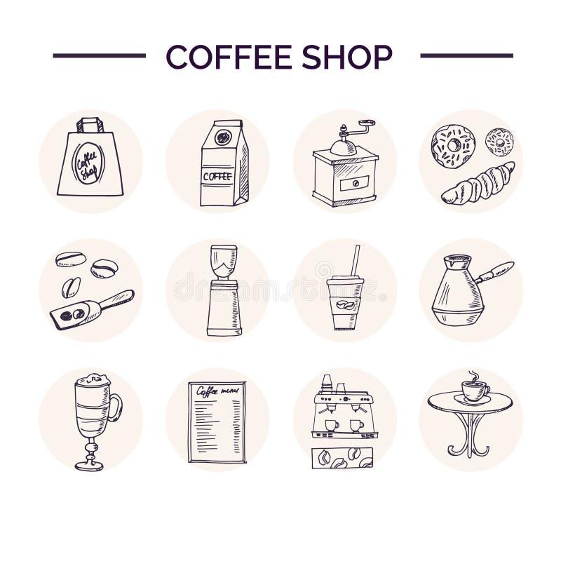 Hand drawn doodle coffee shop set. royalty free illustration