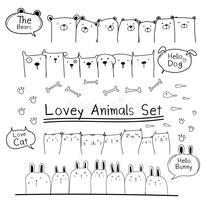 Hand Drawn Doodle Cute Animal Set. Include Bear, Cat, Bunny And Dogs. stock illustration
