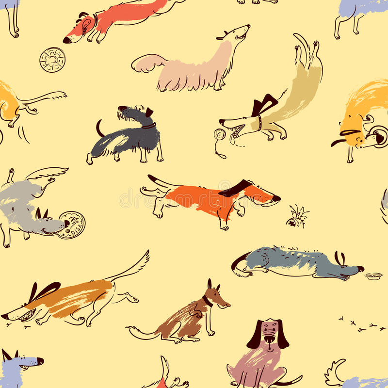 Hand drawn doodle cute dogs. Seamless pattern with plaing pets royalty free illustration