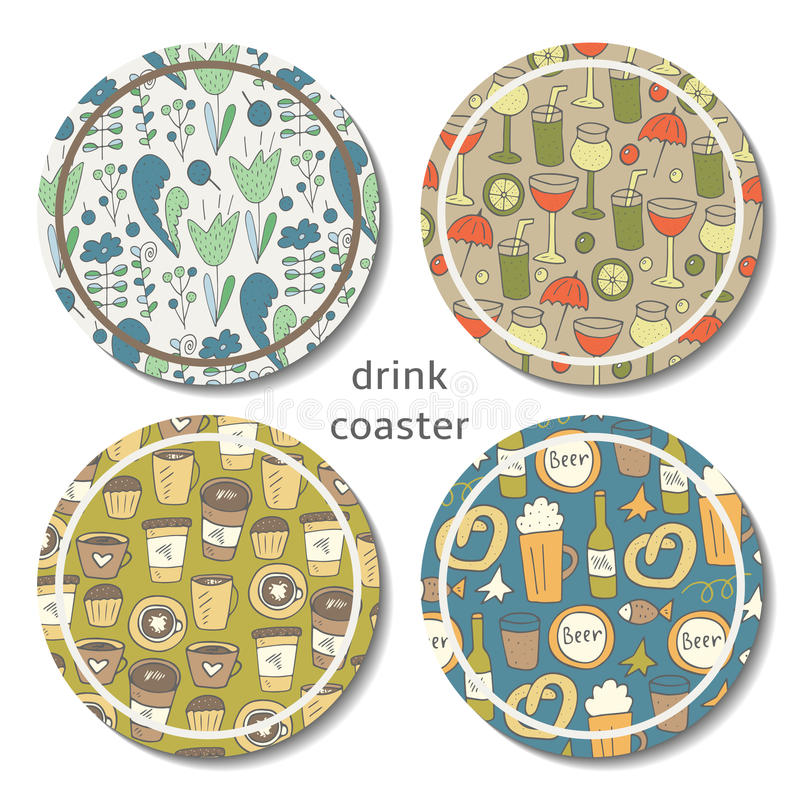 Hand drawn doodle drink coaster. Coffee, tea, beer, cocktail coaster. Coaster with floral design vector illustration