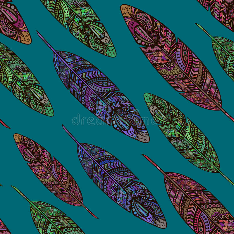 Hand drawn doodle feathers seamless pattern. royalty free illustration