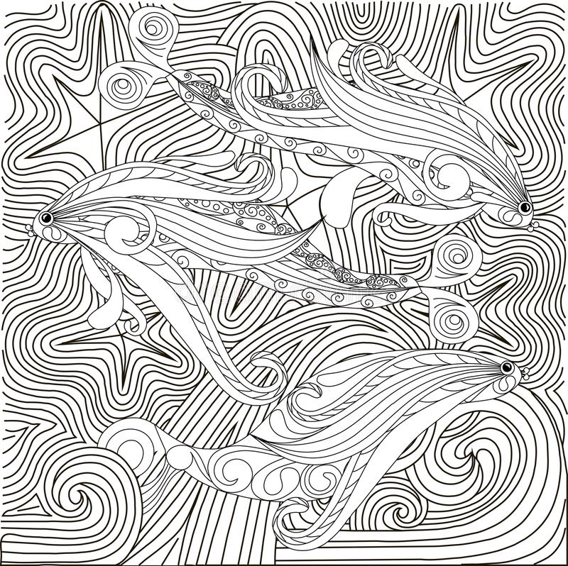 Hand drawn doodle fishes on waves, anti stress coloring page. Stock vector illustration stock illustration