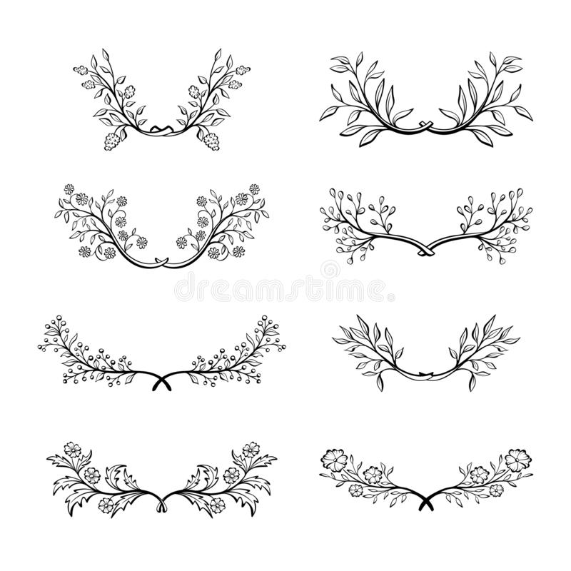 Hand drawn doodle floral wreath collection. royalty free illustration