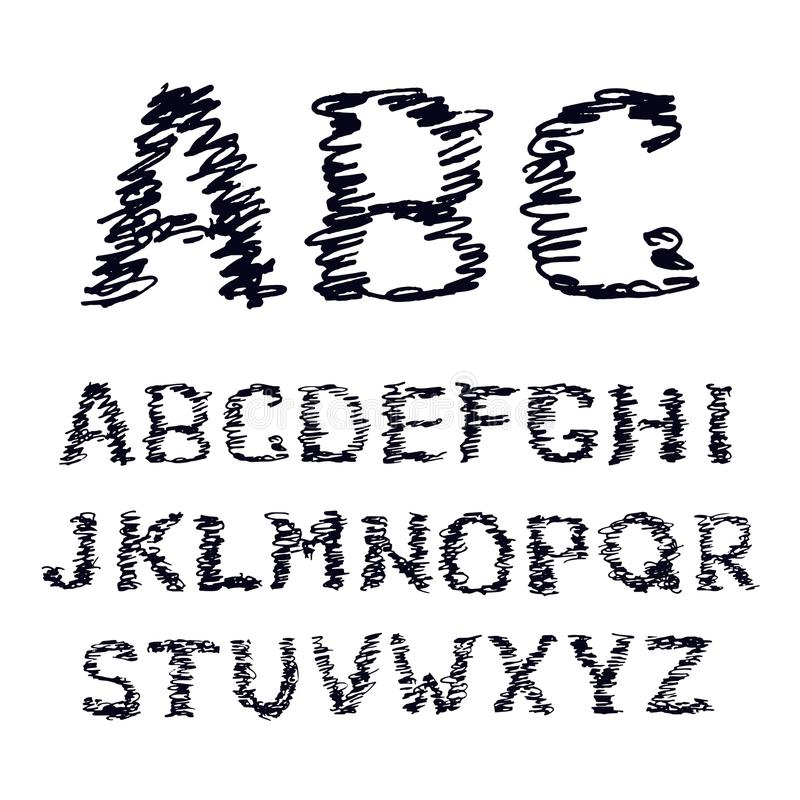 Hand drawn doodle font on white. Vector illustration of a sketched alphabet symbols doodles vector illustration