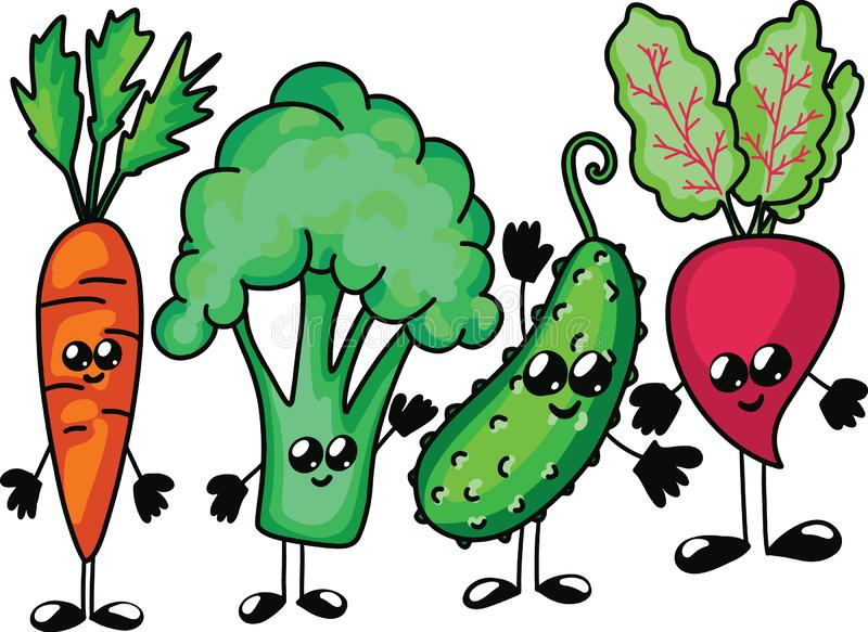 Funny cartoon vegetable character. Vector . Isolated on white background. Set of carrot broccoli cucumber beet royalty free illustration