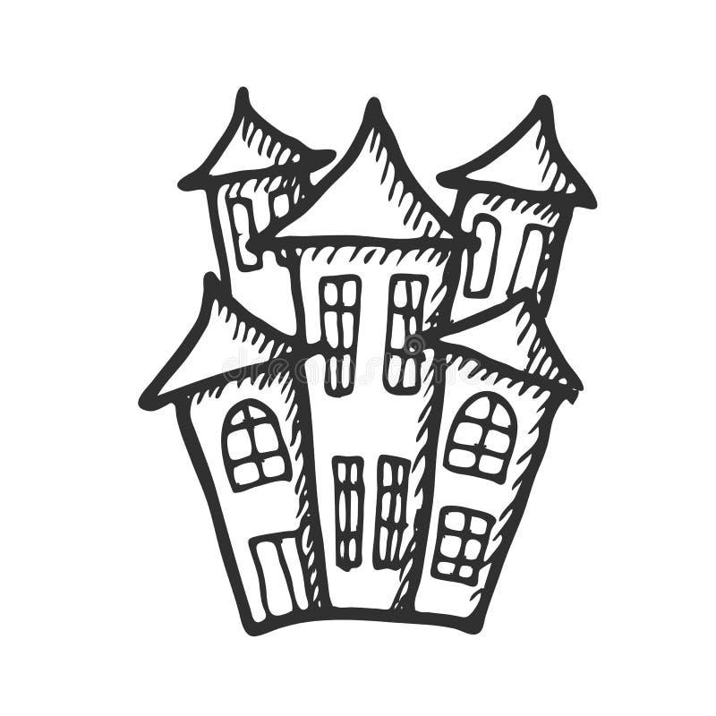 Doodle Art Halloween Castle Stock Vector