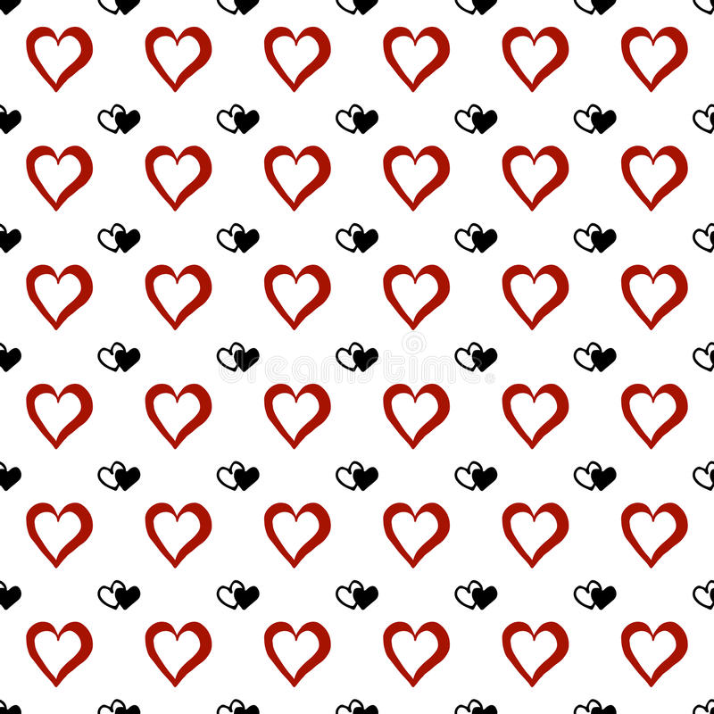 Hand drawn doodle hearts. Seamless pattern. Vector background royalty free illustration