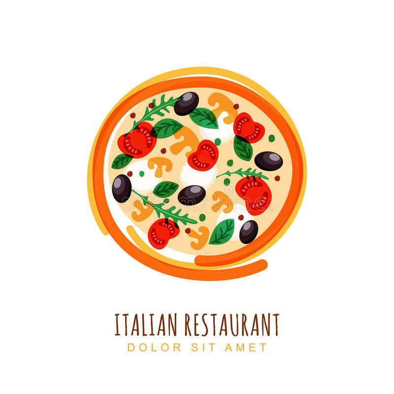 Hand drawn doodle illustration of italian pizza with tomato, mus vector illustration