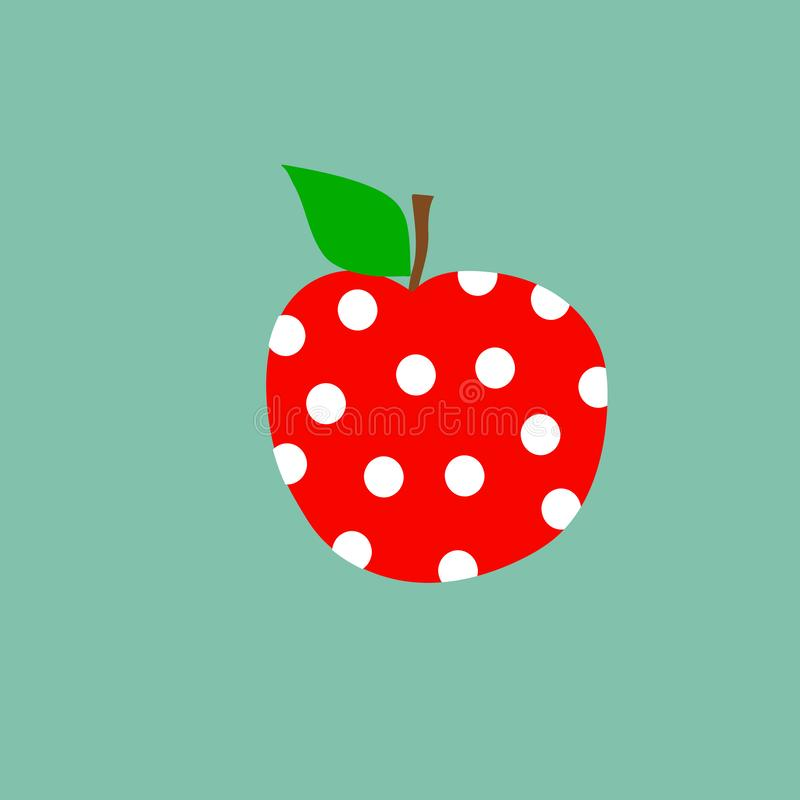 Hand drawn doodle kawaii red apple with white polka dot pattern green leaf on stem on light blue background. Kids room decoration vector illustration