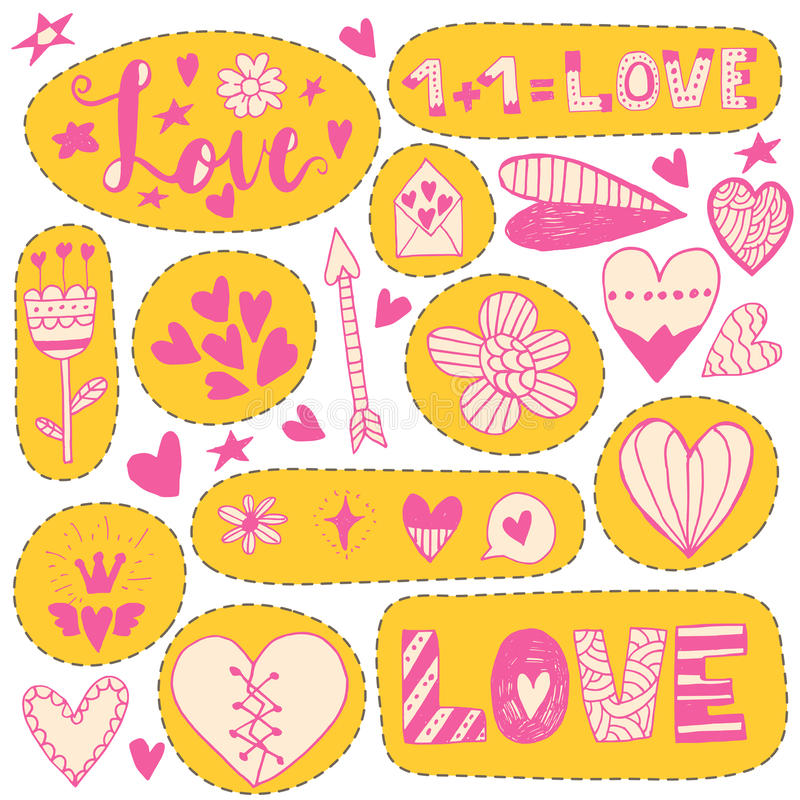 Download Hand Drawn Doodle Love Stickers Stock Vector