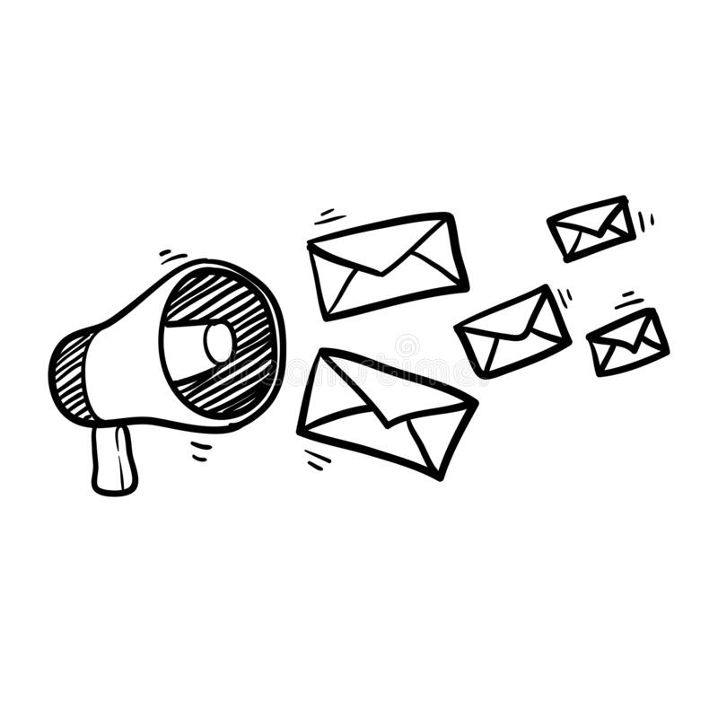 Free Hand Drawn Doodle Megaphone And Envelope Concept For Newsletter Illustration Vector Stock Photo - 192639610