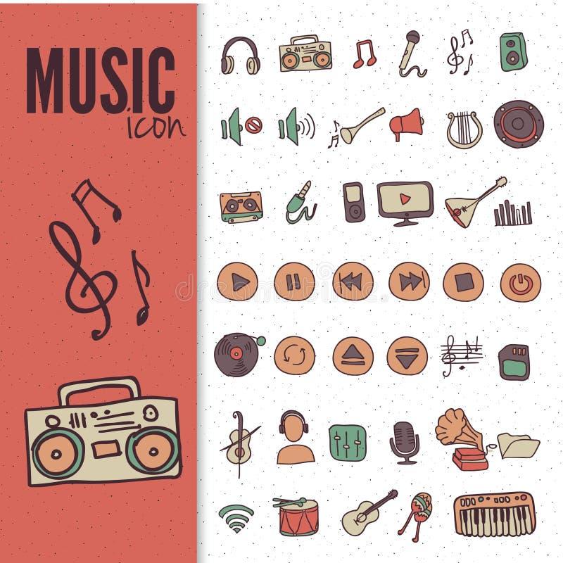 Hand drawn,doodle music icon set vector illustration