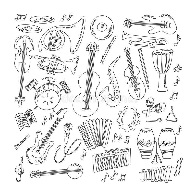 Hand drawn doodle musical instruments. Classical and jazz orchestra. Vector illustration. Vector black and white illustration vector illustration