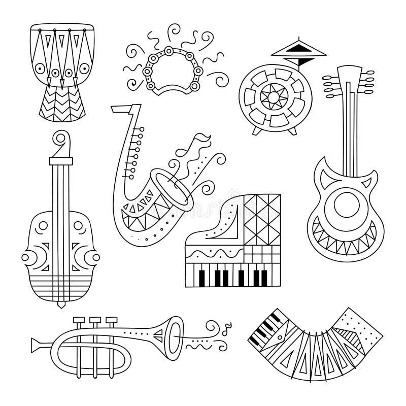 Hand drawn doodle musical instruments set. stock illustration