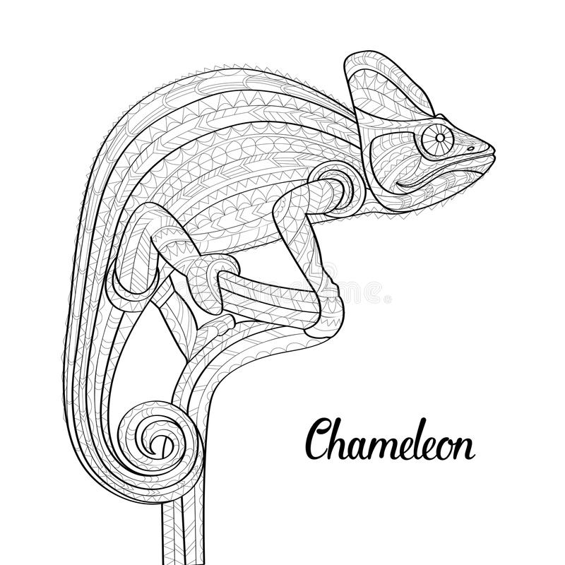 Download Hand Drawn Doodle Outline Chameleon Illustration Decorative In Zentangle Style Patterned Fiery On
